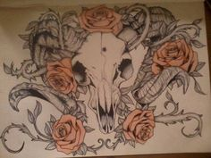 Ram Skull Tattoo Roses and ram's skull tattoo