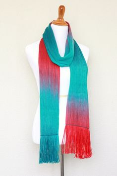 Hand woven scarf, pashmina with gradually changing colors from teal (emerald green) to red color.This #unisex model will be perfect for both men and women.You can wear it as... #kgthreads #accessories #cozy #fall #fashion #gift #gradient #women #wrap