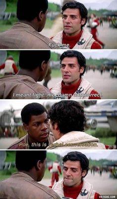 Star Wars : The Force Awakens Poe and Fin Oscar Isaac, Star Citizen, Star Wars Meme, Star Trek, Finn Poe, Star Wars Ships, Love Stars, Reylo, Clone Wars