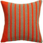 """division red orange 20"""" pillow with down-alternative insert."""