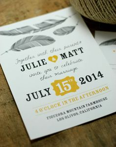 Feather Wedding Invitation - Feather Me with Love