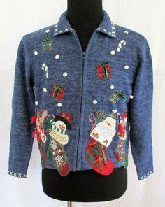 Ugly Christmas Sweater Sz Petite Lrg Tiara International Zip Front Jingle Bells #TiaraInternational #Cardigan