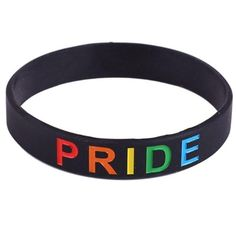 18 Types Unisex LGBT Rainbow Letters Sports Wristband Six-Color Gay Lesbian Pride Silicone Rubber Wristlet Bracelet Party Parade - K / China