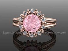 Morganite Sunflower Ring, 14k Rose Gold Diamond And Morganite Engagement Ring, Wedding Ring