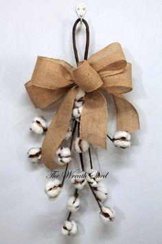 "Natural Cotton Bolls, 22"" Cotton Boll Swag, 2nd Wedding Anniversary Gift, Cotton Boll Stem, Front Door Decor, Cotton Branch, Farmhouse Decor"
