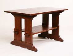L&JG Stickley Trestle Table.  Unsigned.  Refinished.  48″w x 29″h x 29″d