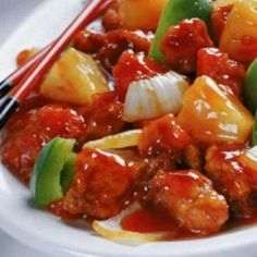 Pork with Green Pepper and Pineapple- Pork with Green Pepper.- Pork with Green Pepper and Pineapple- Pork with Green Pepper and Pineapple - Pineapple Chicken Recipes, Asian Chicken Recipes, Asian Recipes, Ethnic Recipes, Sweet N Sour Chicken, Sweet Sauce, Stuffed Green Peppers, Tasty Dishes, Food Photo