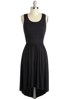 Any Way is Wonderful Dress - Black, Solid, Cutout, Mid-length, Buttons, Casual, A-line, Tank top (2 thick straps), Scoop, Minimal, High-Low Hem