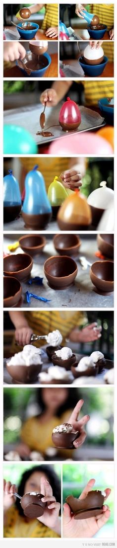 diy chocolate dessert cups - so fun! tkz: Did this one time at a friend's food party. Messy is what I remember. Yummy though - dark chocolate. Köstliche Desserts, Delicious Desserts, Dessert Recipes, Yummy Food, Delicious Chocolate, French Desserts, Plated Desserts, Drink Recipes, Food Cakes