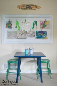 Easy DIY kids art display, picture frame upcycle is done with Gorilla glue mounting tape. This simple step by step tutorial creates the perfect wall art display for a child's bedroom or playroom. Low cost, easy to make and cute decor for a kids bedroom.