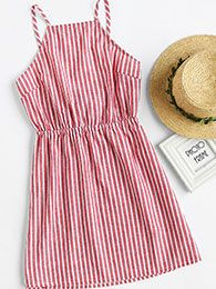 Shop Vertical Striped Bow Tie Open Back Cami Dress online. SheIn offers Vertical Striped Bow Tie Open Back Cami Dress & more to fit your fashionable needs. Red A Line Dress, Red Slip Dress, Sexy White Dress, White Sleeveless Dress, Stripe Dress, Summer Outfits, Cute Outfits, Summer Dresses, Cute Dresses