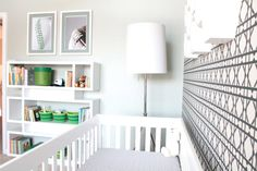 We LOVE this modern take on a sport-themed nursery! #modern #nursery