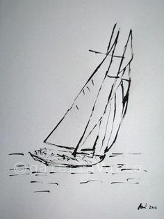 Tinta original velero europeanstreetteam por galeriaVarte en Etsy