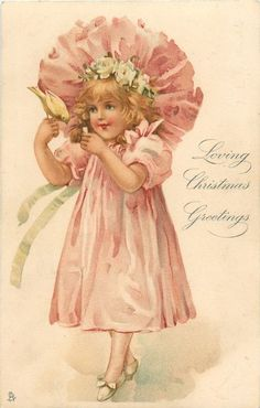 LOVING CHRISTMAS GREETINGS  small girl in pink feeds canary on hand