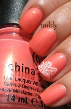::peach nails::white flowers::exotic::spring nails::cute manicures::cute style::NoElie023