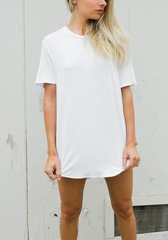 White Curved-Hem Classic Tee