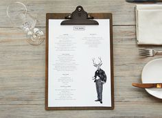 """Menu for 'The Barn' designed by '&Smith' """"The Barn"""