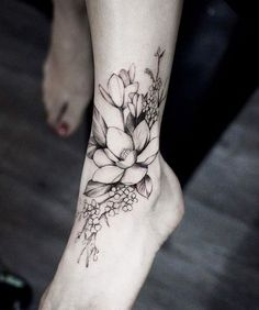 flower tattoos ideas ankle and foot designs #tattoos #women #design #TattooIdeasFlower