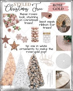 Affordable Christmas Tree Decor Ideas - - It's the most wonderful time of the year. October is not even over, yet I. Rose Gold Christmas Tree, Flocked Christmas Trees, Christmas Christmas, Victorian Christmas, Vintage Christmas, Christmas Ideas, Christmas Bedroom, Silver Christmas, Christmas Decorating Ideas
