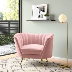Living Room Chairs, Living Room Furniture, Living Room Decor, Pink Living Rooms, Pastel Living Room, Mod Furniture, Layout, Barrel Chair, Chair Fabric