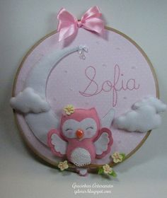 Embroidery hoop craft in felt and fabric for nursery decoration Wall art decoration