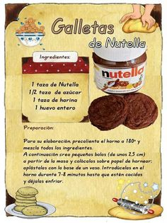 Galletas de nutela Baking Recipes, Cookie Recipes, Dessert Recipes, Food Journal, Arabic Food, Cookies And Cream, Food Illustrations, Cakes And More, Love Food