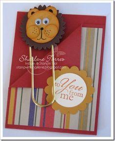 lion punch art jumbo paper clip bookmark