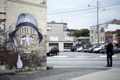 """In his Face of the City series, Toronto-based artist Dan Bergeron (aka Fauxreel) examines the identity of cities by juxtaposing the """"abrasive charm found in the distressed surfaces of modern cities with the intimate familiarity of the prominent features of the human face"""". via the-design-ark.com"""