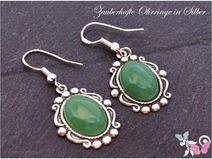 Vintage Aventurin Ohrhänger Silber 925 grün oval