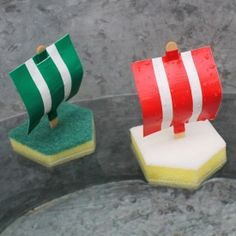 Make easy bath tub boats from sponges and duct tape