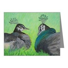 PEACOCK LOVE Note Cards
