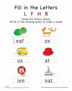 Preschool Building Words Worksheets: Fill in the Letters: L F H B