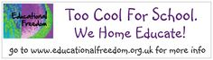 www.educationalfreedom.org.uk Car stickers to show you're proud to home educate.