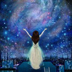 Reach For The Stars by Meluseena - galaxy art, empowerment, night sky illustration Spiritual Path, Spiritual Awakening, Spiritual Enlightenment, Just Love, True Love, Planet Love, Mind Power, Paradigm Shift, Choose Love