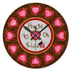Hugs and Kisses Round Cookie Clock #valentinesday #cookies #gifts #zazzle #clock http://www.zazzle.com/zazzlewallclocks