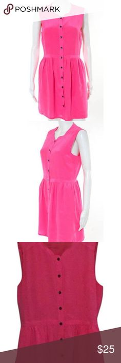 Madewell Shirtdress Like new! Bright pink silk shirtdress with button down front and pockets Madewell Dresses Mini