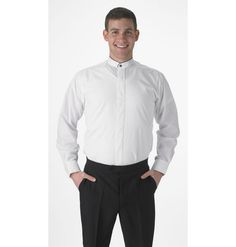 Shop now for Men's White Banded Collar Dress Shirt, Covered Front Buttons, Long Sleeves at 99tux.