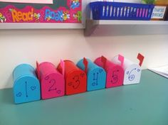 Each mailbox has a scrambled sentence inside. Kiddos work together to unscramble the sentence. Just love the presentation of it all:)