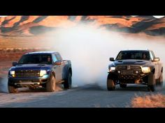 On this episode of Head 2 Head, Motor Trend's Mike Febbo and off-road racer Joe Bacal head to the desert to pit the Ford Raptor against the Ram Runner. Find out which high performance prerunner tames the tarmac and destroys the dirt the best!    Head 2 Head appears every other Wednesday on the new Motor Trend channel.  http://www.youtube.com/motort... Raptor Toys, Svt Raptor, Ford Raptor Truck, Ram Runner, Big Trucks, Ford Trucks, Pickup Trucks, Dodge Rams, My Dream Car