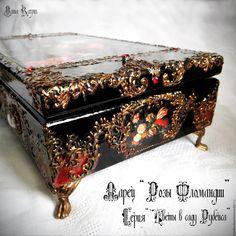 """Купить Шкатулка """"Розы Фламандии"""" Ларец - черный, барокко, шкатулка для украшений, золотой, подарок девушке"""
