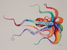 Watercolor Octopus Print by EricaBibeeArt on Etsy
