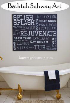 Kammy's Korner: Bath Time Subway Art Canvas {Master Bath}