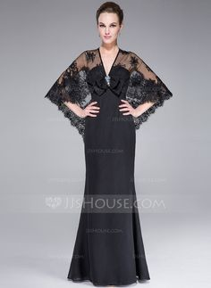 Evening Dresses - $145.99 - Trumpet/Mermaid V-neck Floor-Length Chiffon Lace Evening Dress With Beading Sequins Bow(s) (017042639) http://jjshouse.com/Trumpet-Mermaid-V-Neck-Floor-Length-Chiffon-Lace-Evening-Dress-With-Beading-Sequins-Bow-S-017042639-g42639?pos=your_recent_history_2