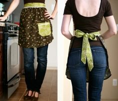 sewing idea/ kitchen work Apron with mixed fabric owls