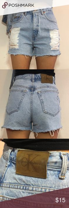 Calvin Klein high waisted shorts Denim high waisted Calvin Klein distressed shorts. Fits 27/28 best. Calvin Klein Shorts Jean Shorts