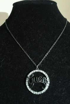 Vintage  Black Chrome Silver Guess Rhinestone Statement Modern Chain Necklace #guess