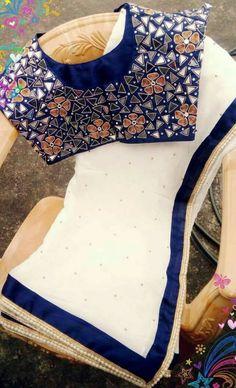 Latest One Side Work Blouse Designs Saree Blouse Neck Designs, Saree Blouse Patterns, Sari Blouse, Indian Blouse, Indian Wear, Jute, Mirror Work Blouse Design, Blouse Models, Chiffon