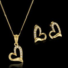 Women Jewelry Gold Necklace Set New Fashion Necklace Earring Heart Party Vintage Gold Plated Jewelry Set , Heart Pendant