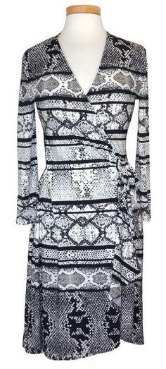 BCBG Max Azria Womens Dress ADELE Wrap Jersey Snakeskin Black Sz M NEW NWT $198 #BCBGMAXAZRIA #WrapDress #Casual