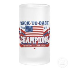 It's the NEW, classic Back To Back World War Champions beer mug from an award winning designer! This awesome design features an American Flag with shooting stars to the sides, and the words Back To Back World War Champions, and The United States Of America on a ribbon banner. A great patriotic red white and blue beer mug to use proudly for the 4th of July, Memorial Day, Veteran's Day, or ANY day of the year! Grab yours from this American Zazzle Pro-Seller today.